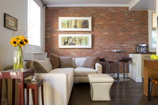 Sala de estar em alvenaria aparente em parede