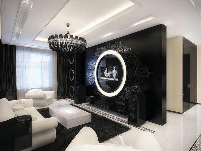 Decoração em sala preto e branco com lustre negro