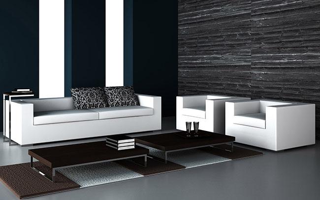 decoração de sala de estar misturando móveis preto e branco