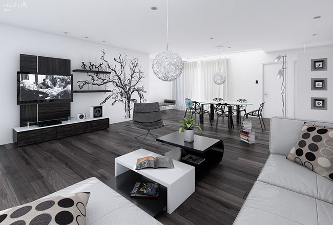 Sala De Estar Branca E Preto ~ Piso laminado escuro na decoração de ampla sala de estar branca