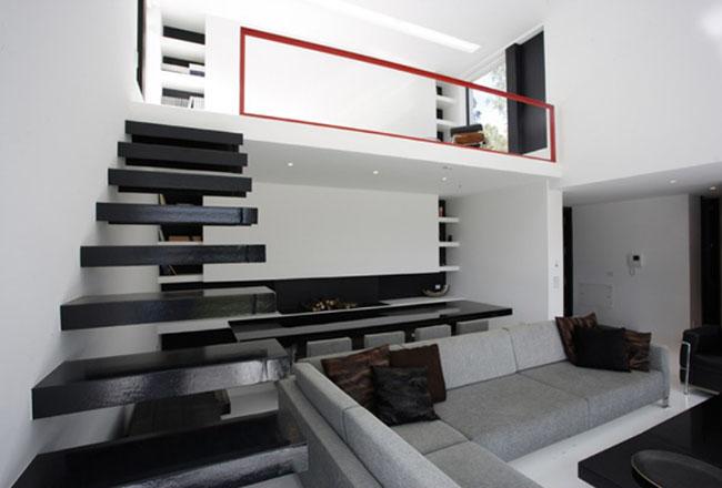 Decoração de loft em preto e branco