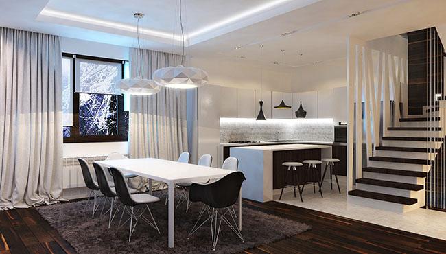 Sala de jantar decorada com banquetas preto e branco