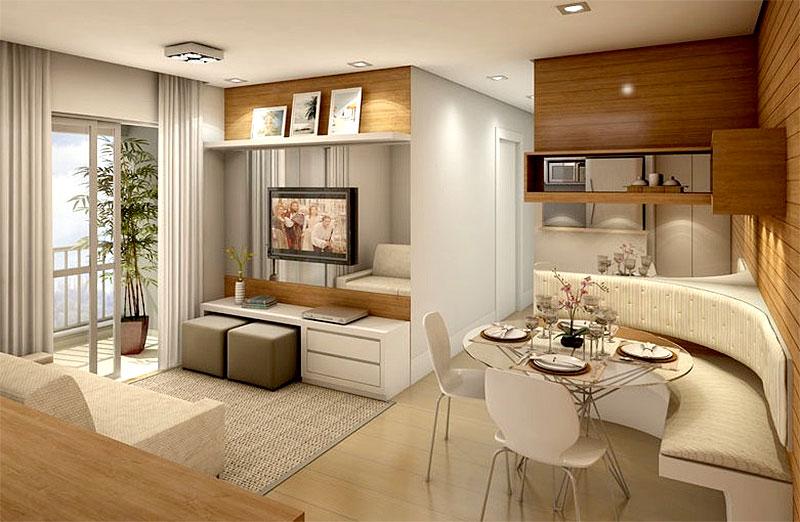 Um bom exemplo dos tapetes delimitando os espaços das salas de estar e de jantar