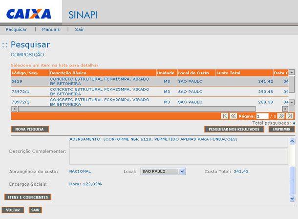 interface do Sistema SINAPI de Preços da construção civil