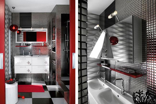 Banheiro revestido com pastilhas em inox