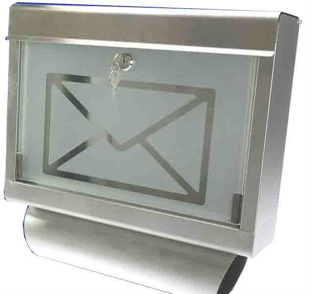 253f92a45de3 Caixa postal de inox com vidro jateado