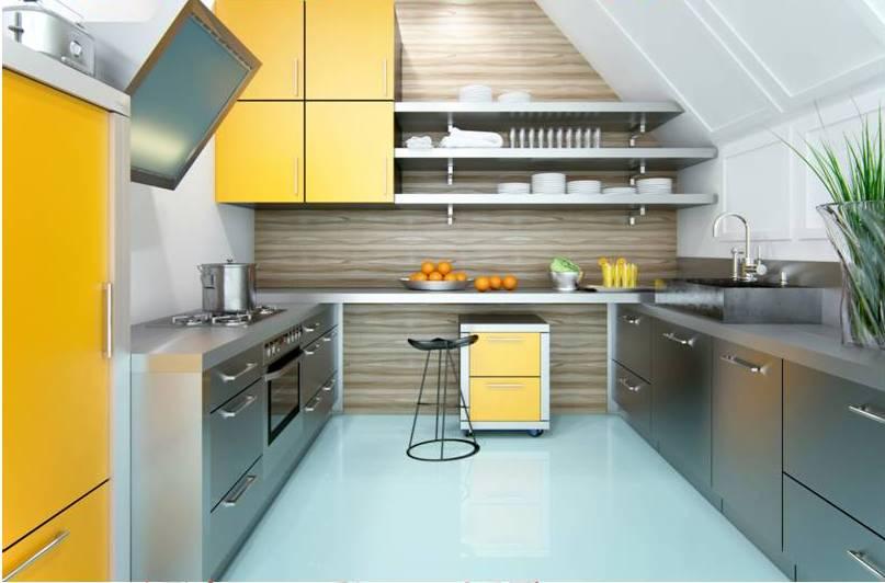 cozinha amarela em aço inox