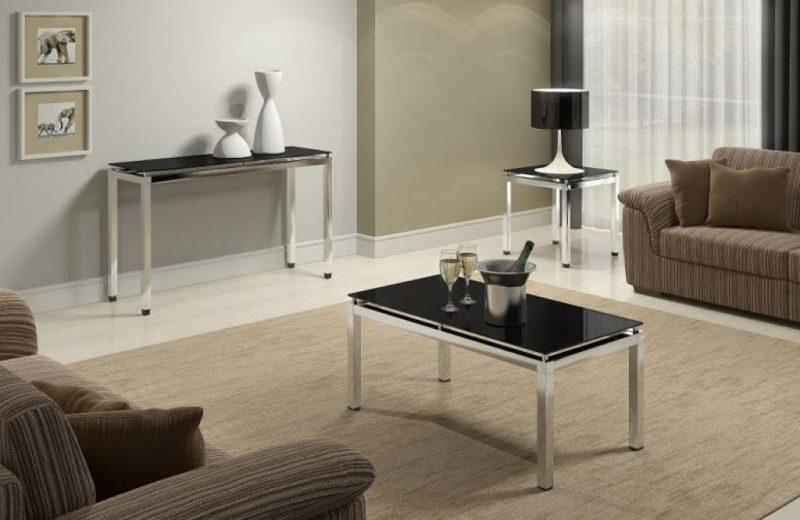 Mesa de centro com tampo de vidro e suporte de inox