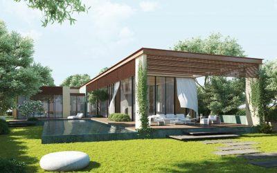 Jardim super contemporâneo de casa com varanda coberto com a Grama São Carlos