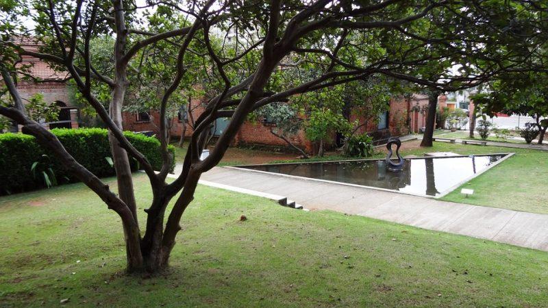 Jardim em Grama São Carlos com espelho d'água em casa moderna