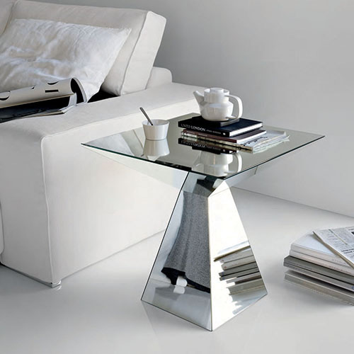 Mesa de canto espelhada com tampo de vidro