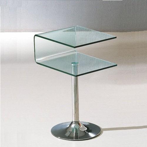Mesa de canto decorativa de vidro cruzado