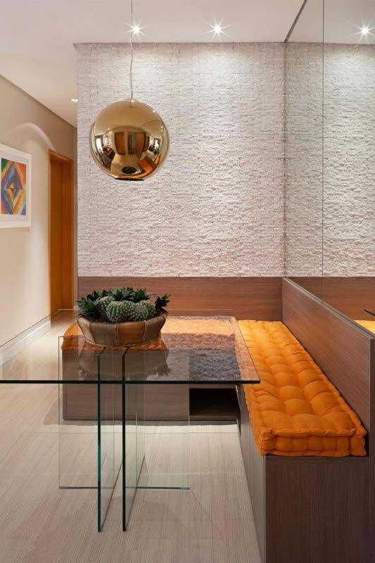 Mesa de jantar de canto de vidro