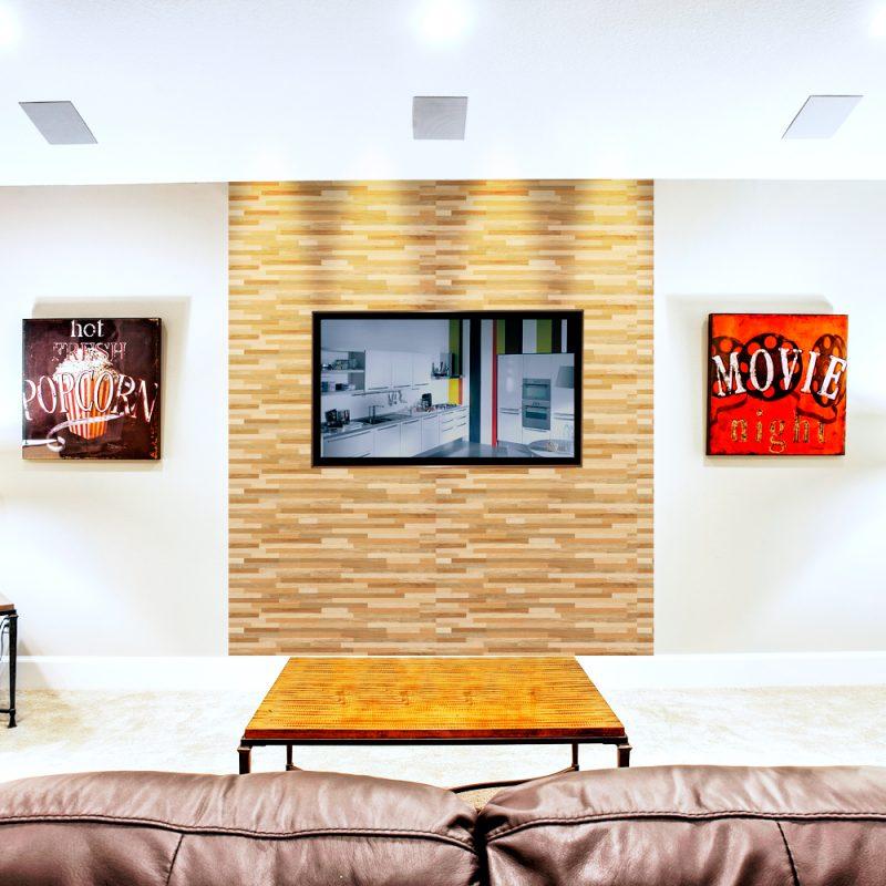 Painel de TV de madeira para a sala feito em madeira filetada