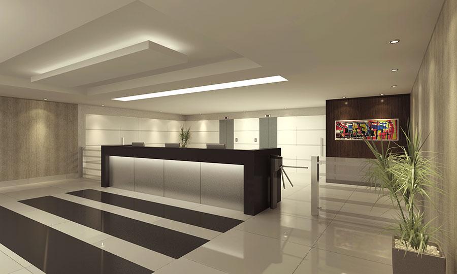 ampla sala de estar moderna com piso plido de porcelanato