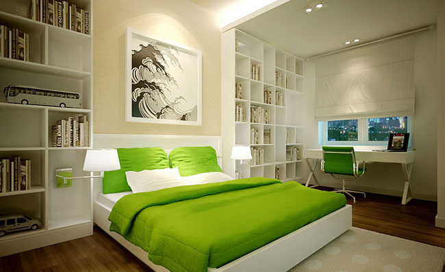 Decoração Feng Shui d quarto verde