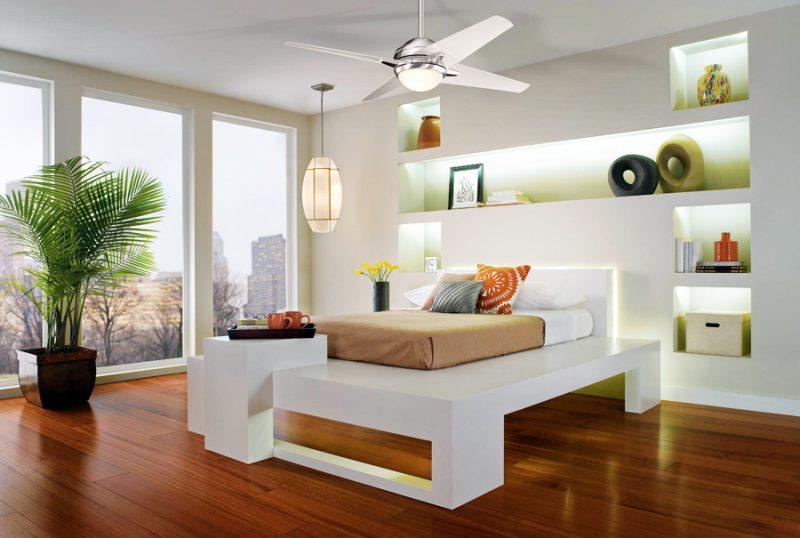 uso do ventilador na composição de quarto de casal moderno