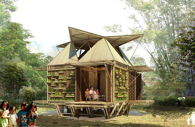 Projeto de Casa em estilo oriental totalmente em bambu