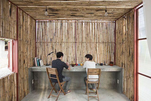 Paredes de bancada de de escritório em bambu