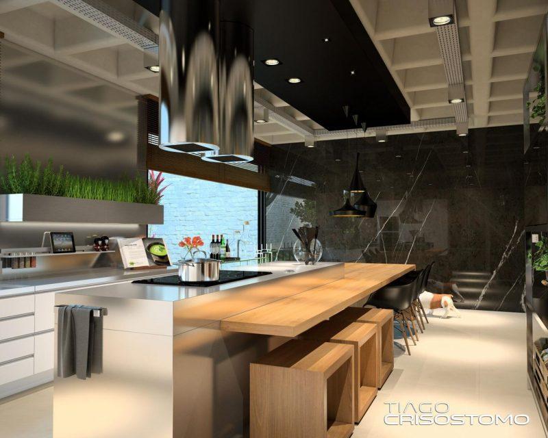 Cozinha com Spots de look industrial