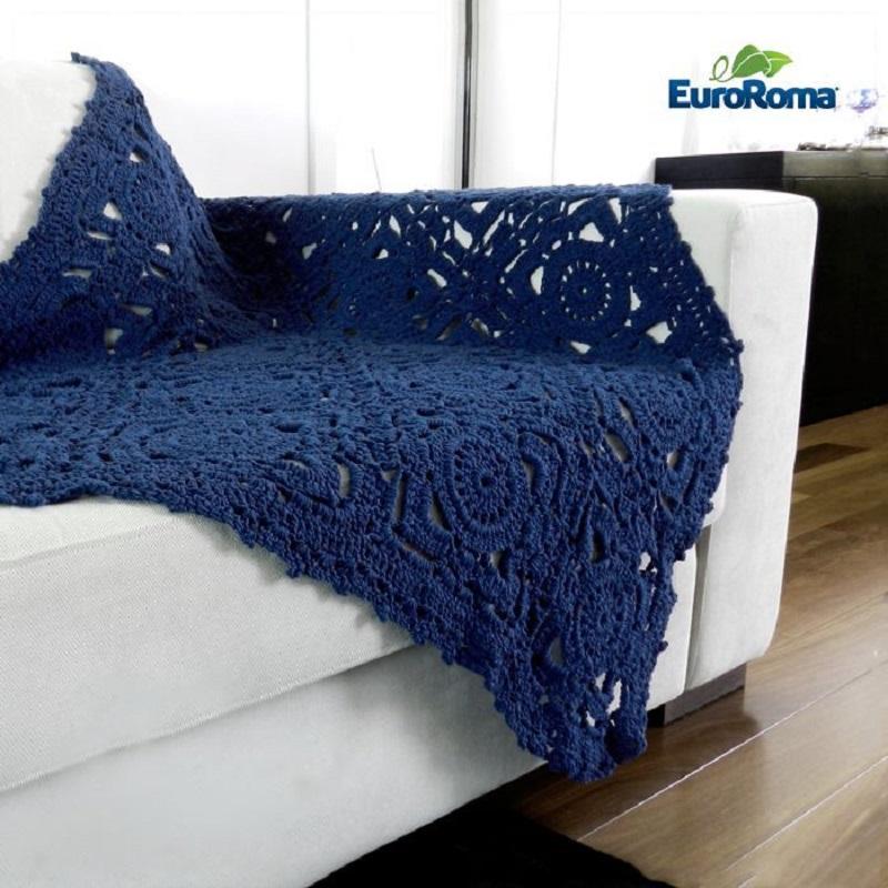 Manta de crochê azul