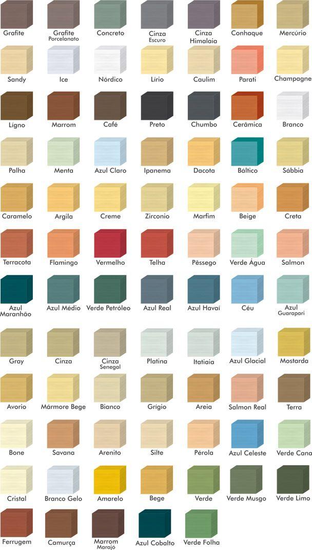 Diferentes cores de tinta para rejunte disponíveis no mercado