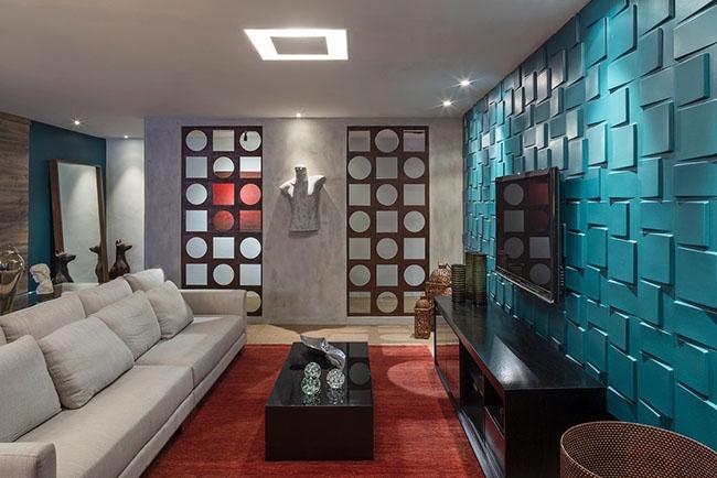 Para dar destaque ao ambiente pequeno, você pode usar cor e textura nas paredes, e móveis para sala de estar mais simples, para criar um grande destaque