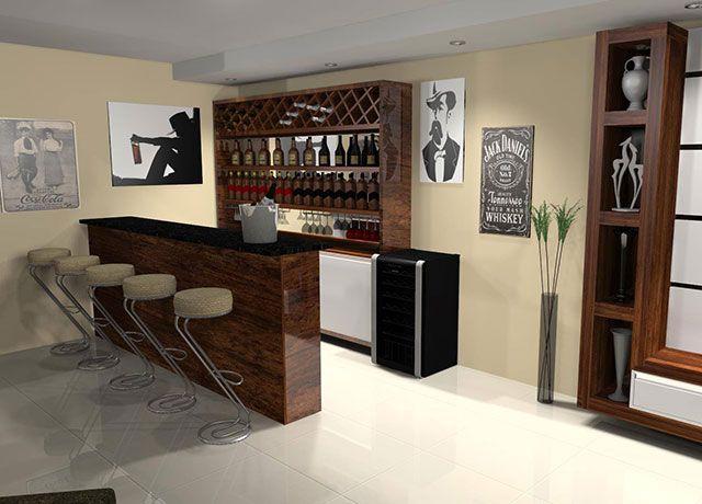 Esse bar para sala é formado por uma pequena bancada para servir além e um aparador de preparo. Várias banquetas completam o clima