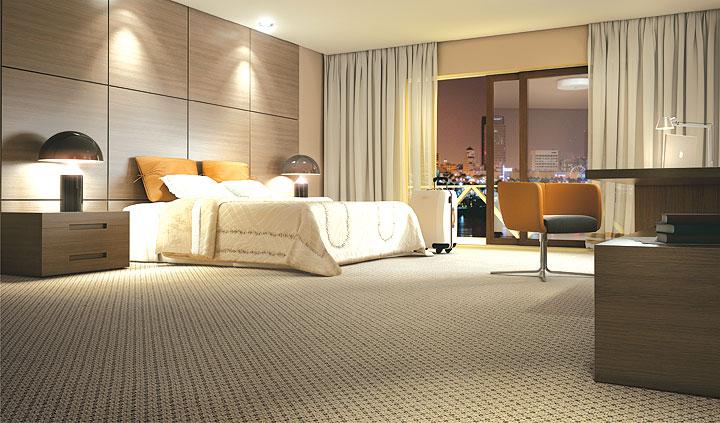 Carpete revestindo piso de quarto de casal