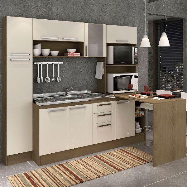 Projeto de cozinha compacta branca