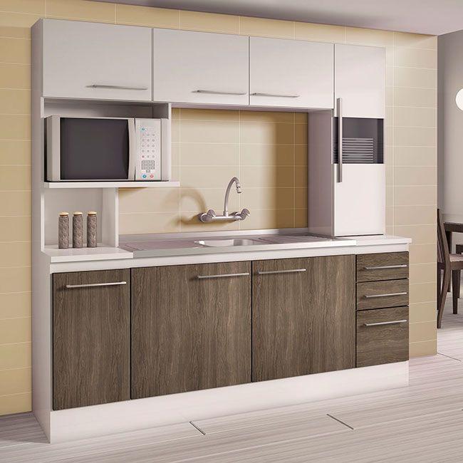 Cozinha compacta instalada em apenas uma parede de projeto