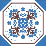 Estampa em azul e marrom para azulejos decorativos