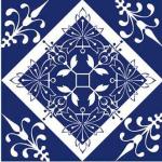 Bela estampa de azulejo antigo em azul escuro