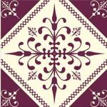 Cerâmica antiga super bonita com tons de bordô na estampa