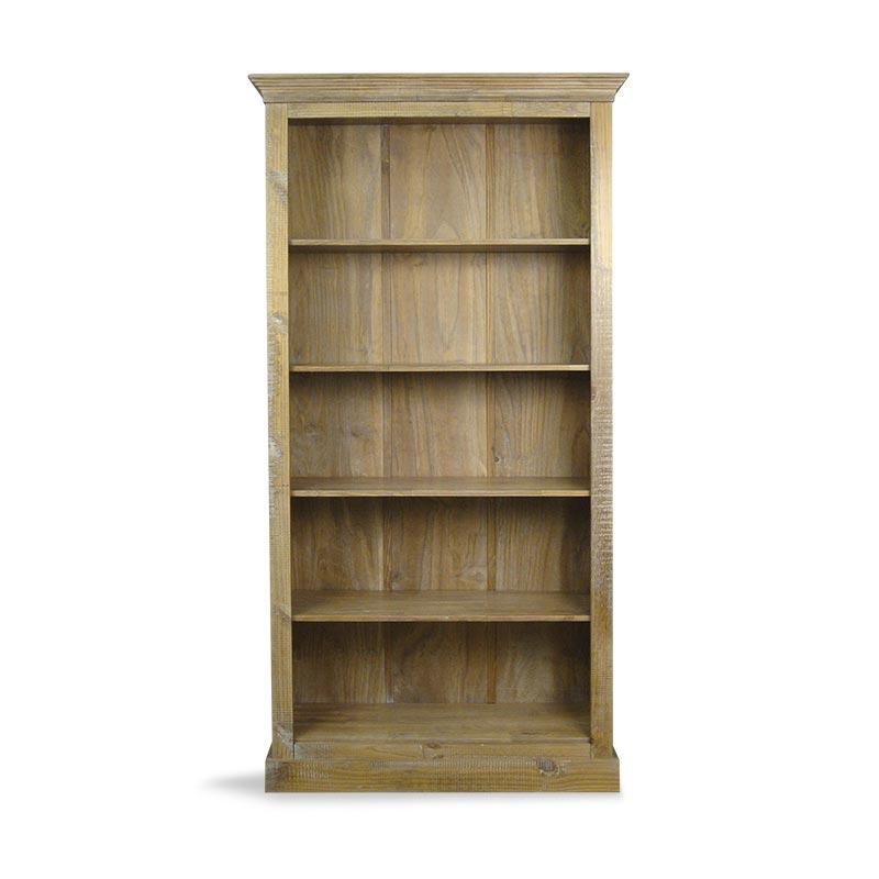 Estante de madeira maciça com acabamento rústico para sala de estar
