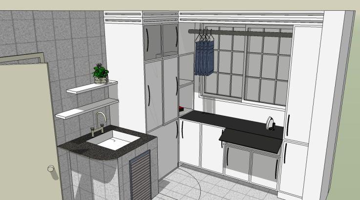 Projeto de lavanderia planejada funcional, com móveis sob medida para o ambiente