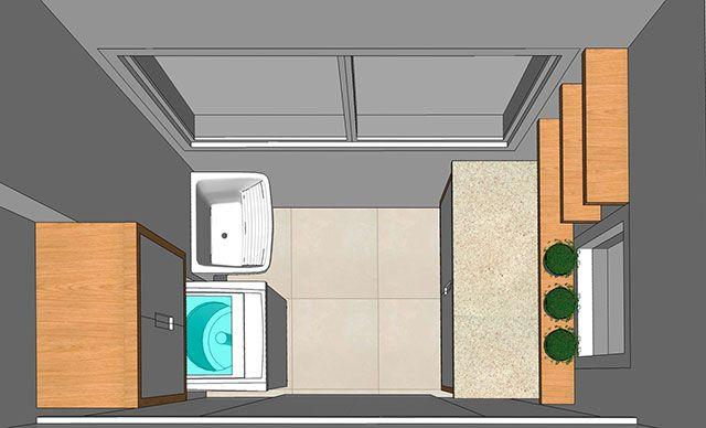 Projeto super reduzido de lavanderia panejada com pouca área
