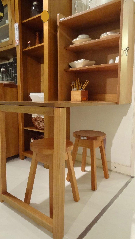 Bancada de cozinha de madeira dobrável