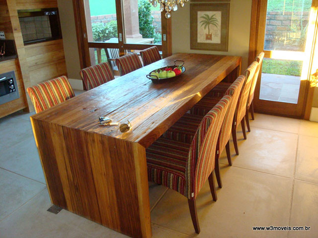 Bancada de madeira maciça para sala de jantar