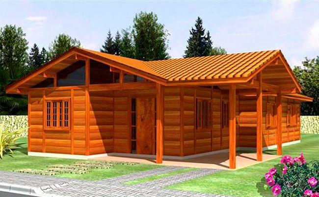 Projeto simples de casa térrea de madeira
