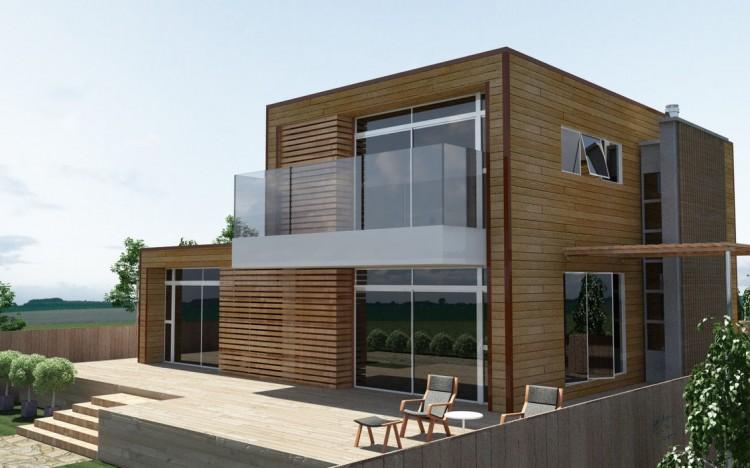 Projeto de casa com fachada de madeira