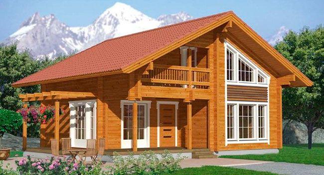 Projeto de casa de dois pavimentos em madeira