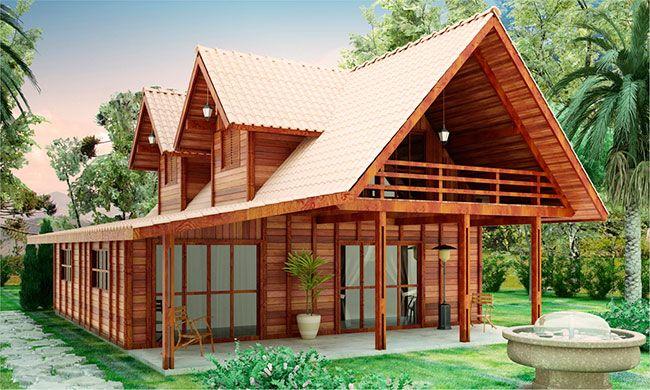 Projeto de casa de madeira em dois andares