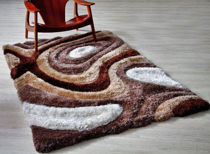 Tapete para sala de lã com padrões orgânicos