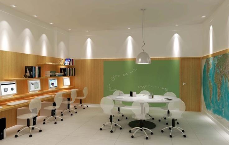 Bancadas de estudo com iluminação spot sobre pontos de estudo