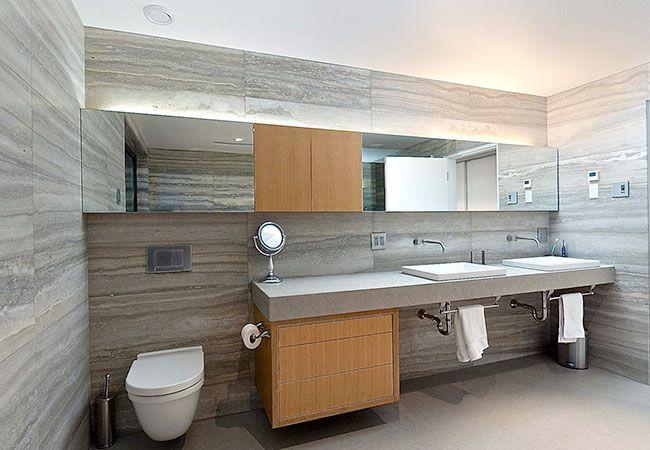 Bancada simples porém sofisticada para banheiro moderno