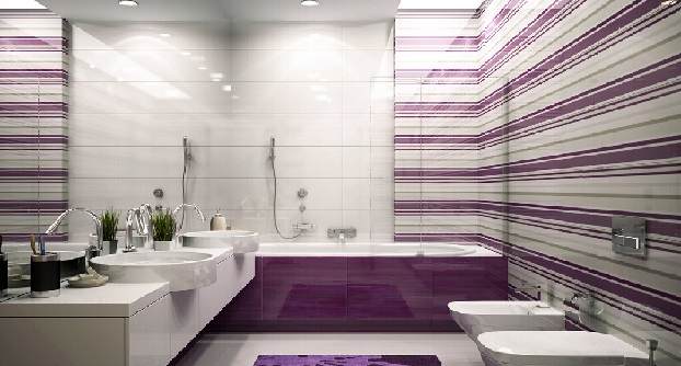 Decoração de banheiro simples branco e lilás