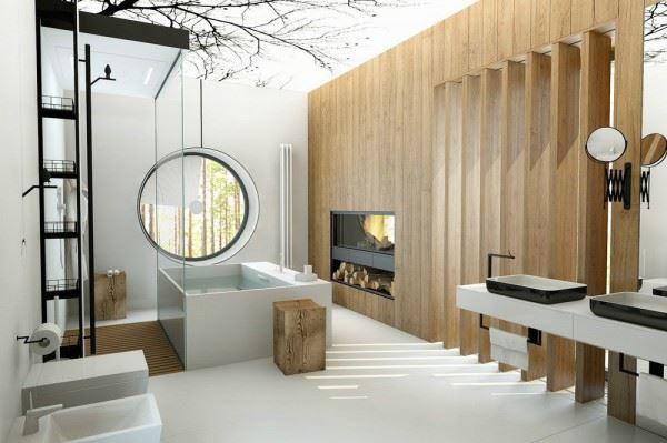 Banheiro moderno decorado com janela redonda
