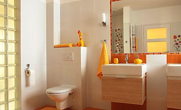 Decoração de banheir simples e minimalista com linhas retas