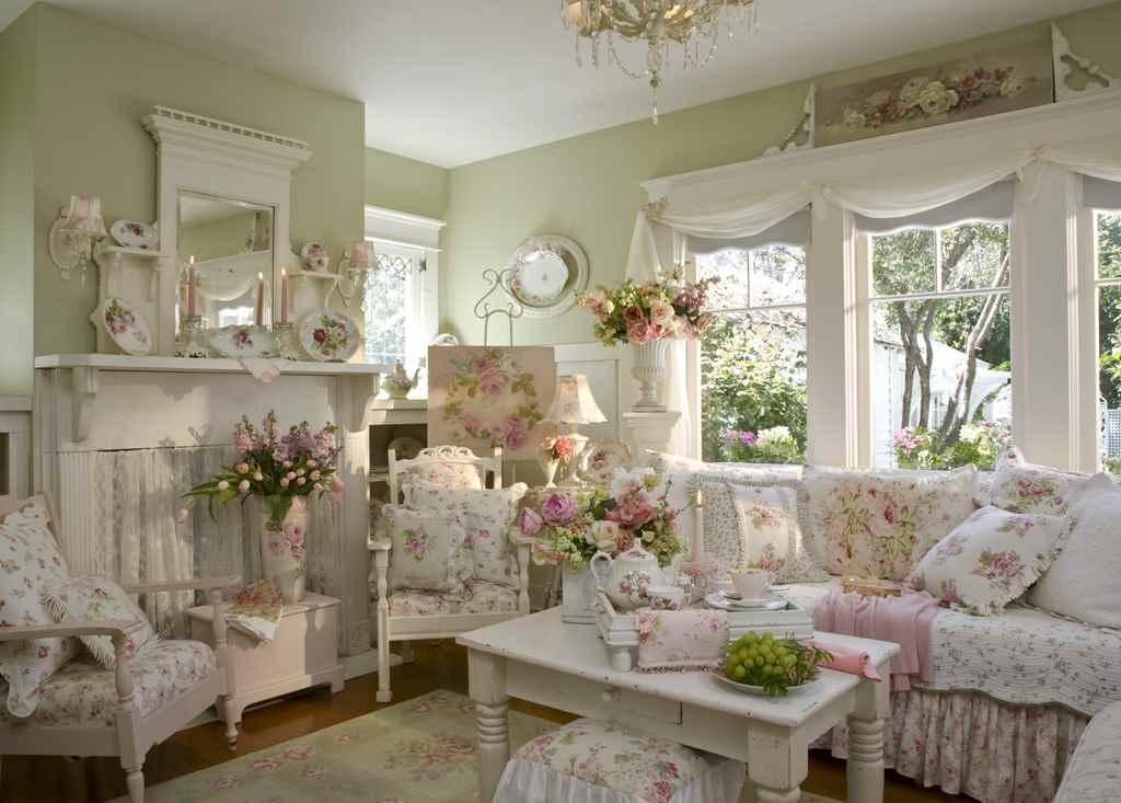 decoração de sala de estar em estilo provençal
